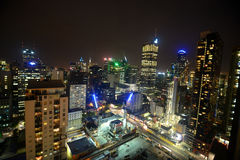 City skyline and modern buildings in night time Stock Photography