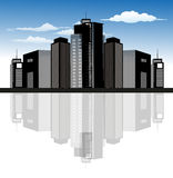 City Skyline. Modern city dark skyline illustration design Royalty Free Stock Photo