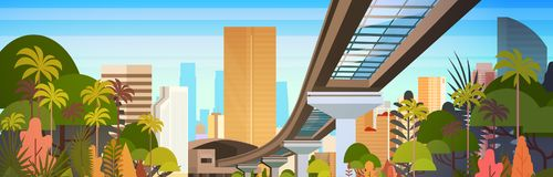 City Skyline With Modern Skyscrapers And Railway Road Cityscape View Horizontal Banner. Vector Illustration Royalty Free Stock Photo