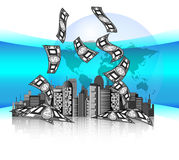 City skyline with money and earth globe. With blue background Royalty Free Stock Image