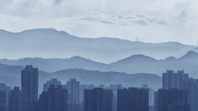 City skyline and mountain landscape of Hong Kong Royalty Free Stock Photo