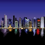 City Skyline at night. A vector illustration of a cityscape at night overlooking a harbour Royalty Free Stock Photo