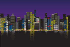 City Skyline at night. Vector background for your design Stock Images