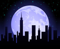 City Skyline at Night. With moon Stock Images