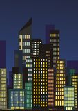 City skyline at night. With lights vector illustration