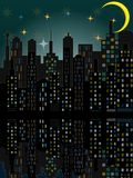 City skyline by night Stock Images