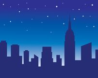 City skyline at night. With star and Empire state building stock illustration