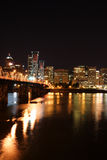 City skyline at night #5. Downtown Portland Oregon at night showing river and skyline Royalty Free Stock Photos
