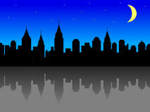 City skyline at night. Illustration of a city skyline with reflection, at night Stock Photos