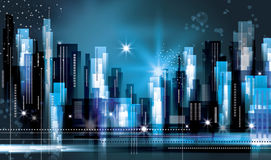 City skyline at night. Abstract modern cityscape. Night urban scene Royalty Free Stock Photo