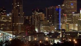 City skyline at night stock footage