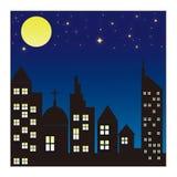 City skyline at night background. Illustration of city skyline at night Stock Photos
