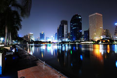 City skyline at night. Bangkok Thailand. Stock Photos