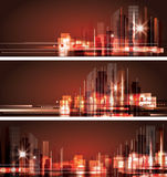City skyline at night. Header set Royalty Free Stock Photography