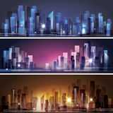 City skyline at night. Header set Royalty Free Stock Images