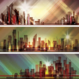 City skyline at night. Header set Stock Images
