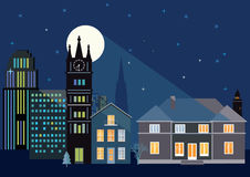 City skyline at night. Illustration of a modern city skyline at night with the moon and stars in the background Royalty Free Stock Images