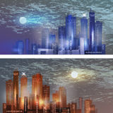 City skyline at night. With moon in the sky Stock Photos