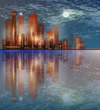 City skyline at night. City panorama  at night Stock Photography