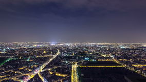 The city skyline at night. Paris, France. Taken stock video