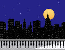 City Skyline At Night From a Rooftop Terrace. Silhouette of a city skyline with moon and stars Stock Image