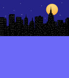 City Skyline At Night With Room For Text. Silhouette of a city skyline with moon and stars Stock Image