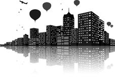 City Skyline Night scenes. Illustration Of City Skyline Night scenes with hot air balloon Stock Photos