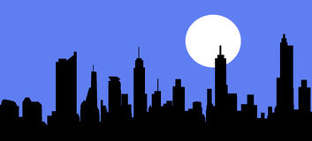 City Skyline at Night - Vector Stock Photography