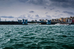City Skyline Over The Sea Royalty Free Stock Photos
