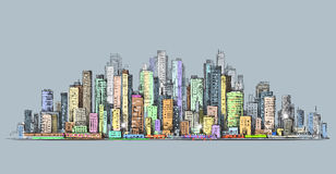City skyline panorama, hand drawn cityscape, vector drawing architecture illustration Royalty Free Stock Images