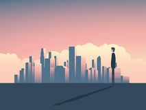 City skyline panorama illustration with businessman watching. High skyscrapers in the background. Royalty Free Stock Image