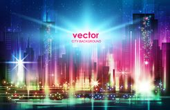 Night city background, with glowing lights, vector illustration. City skyline panorama at night, , vector illustration Royalty Free Stock Photo