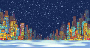 City skyline panorama, winter snow landscape at night, hand drawn cityscape, vector drawing architecture illustration Stock Photography