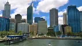 The city skyline of Perth Western Australia stock photos