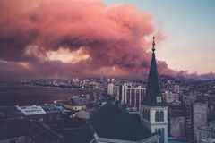 City Skyline Photo With Red Clouds Stock Photography