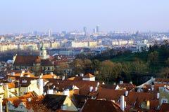 City skyline. Praga roofs and skyline in sunset stock image