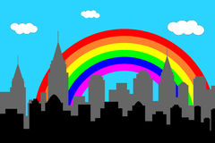 City skyline with rainbow Stock Images