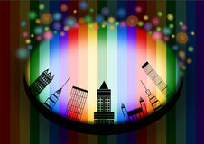 City Skyline in rainbow background Stock Photos