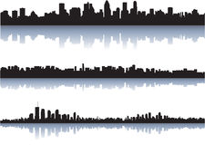 City skyline reflect on water stock illustration