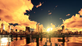 City skyline reflected in water at sunset. Fantastic big setting sun and dramatic golden clouds over abstract city with high rise buildings skyscrapers skyline Royalty Free Stock Photography