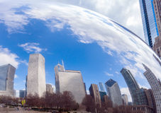 City skyline reflecting in Chicago Bean Royalty Free Stock Image