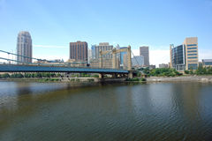 City Skyline from river. A picture of Minneapolis skyline from across Mississippi Royalty Free Stock Photography