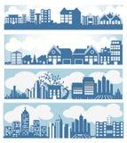 City skyline. Set of city skyline designs Royalty Free Stock Photos