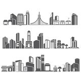 City skyline. Set of 3 city skyline, downtown in silhouette theme Stock Image