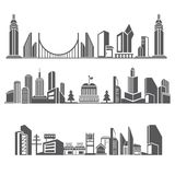 City skyline. Set of 3 city skyline, downtown in silhouette theme Royalty Free Stock Photography