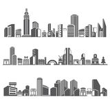 City skyline. Set of city skyline, downtown in silhouette theme Stock Images