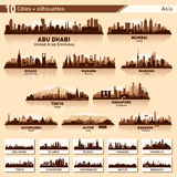 City skyline set 10 vector silhouettes of Asia #1. City skyline set. Asia. Vector silhouette illustration Stock Photo