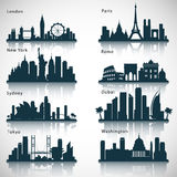 City skyline set. Vector silhouettes stock illustration