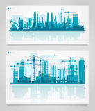 City Skyline Sets. Vector horizontal banners skyline Kit with factories and industrial parts of cities. Illustration divided on layers for create parallax effect Stock Image