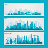 City Skyline Sets. Vector horizontal banners skyline Kit with various parts of city - factories, refineries, power plants and small towns or suburbs Royalty Free Stock Images